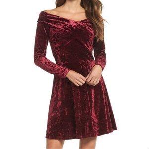 Chelsea28 maroon velvet off shoulder dress